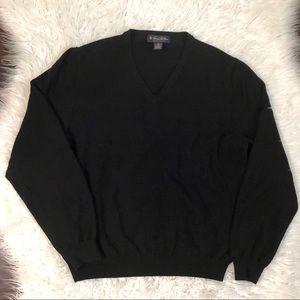Brooks Brothers V Neck Merino Wool Blend Sweater